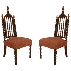 American Gothic Revival Mahogany Side Chairs