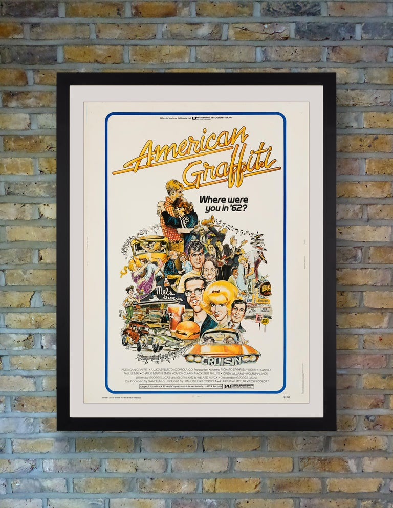 A scarce US 30x40 poster for George Lucas' 1973 coming-of-age comedy