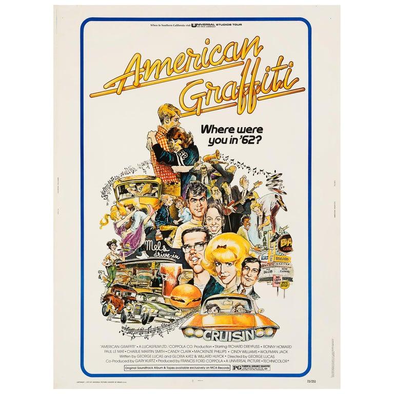 """American Graffiti"" Original Vintage Movie Poster by Mort Drucker, 1973 For Sale"