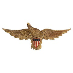 American Hand-Carved Folk Eagle with Shield, Circa 1930-1950