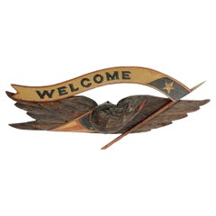 """American Hand-Carved """"Welcome"""" Bellamy Style Eagle"""