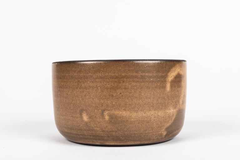 Mid-Century Modern American Hand-Glazed Pottery Low Bowl For Sale