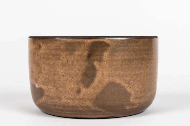 Hand-Crafted American Hand-Glazed Pottery Low Bowl For Sale