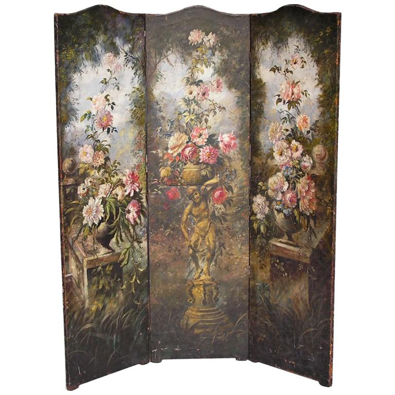 American Hand Painted Three Panel Floral Leather Screen , Signed N.Y.  Circa 187 For Sale