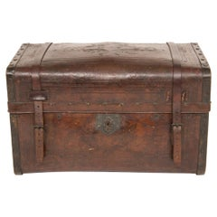 American Hand Tooled Leather Trunk, c.1850