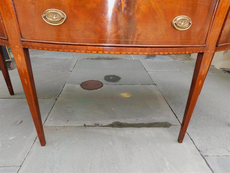 American Hepplewhite Mahogany Serpentine Two Drawer Inlaid Sideboard, Circa 1790 7