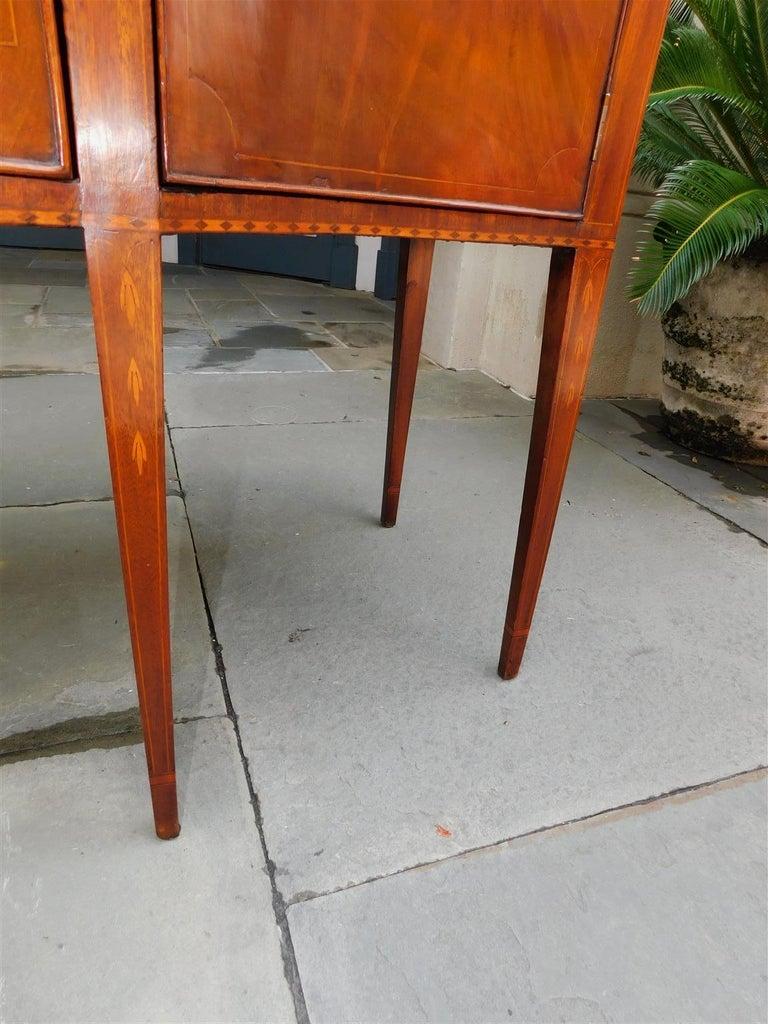 American Hepplewhite Mahogany Serpentine Two Drawer Inlaid Sideboard, Circa 1790 8