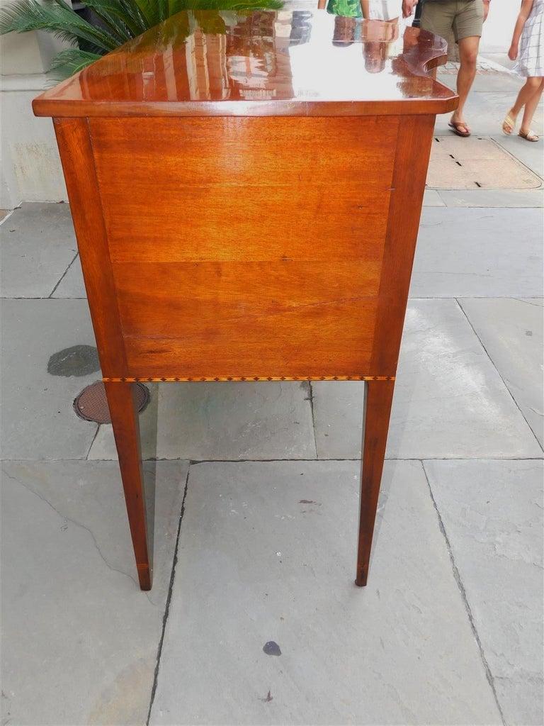 Satinwood American Hepplewhite Mahogany Serpentine Two Drawer Inlaid Sideboard, Circa 1790