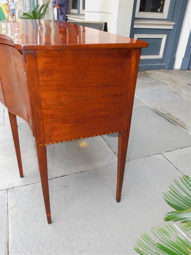American Hepplewhite Mahogany Serpentine Two Drawer Inlaid Sideboard, Circa 1790 1