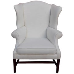 American Hepplewhite Mahogany Upholstered Wing Back Chair, New York, Circa 1790