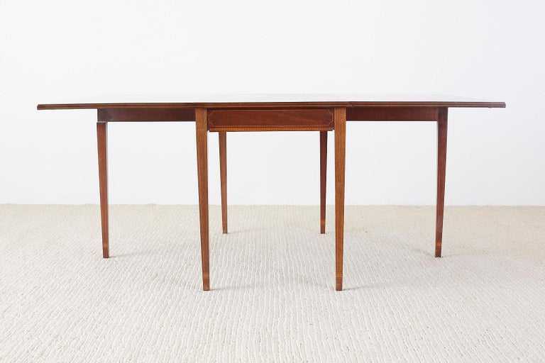 Brass American Hepplewhite Style Mahogany Banquet Dining Table For Sale