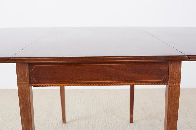 American Hepplewhite Style Mahogany Banquet Dining Table For Sale 2