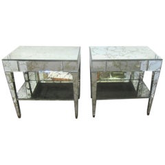 American Hollywood Regency Mirrored Nightstands