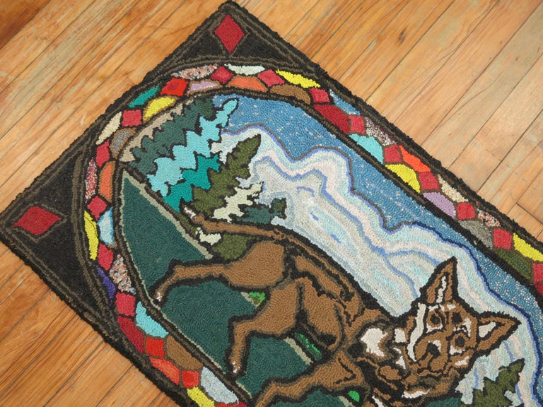 Country American Hooked Pictorial Dog Rug For Sale