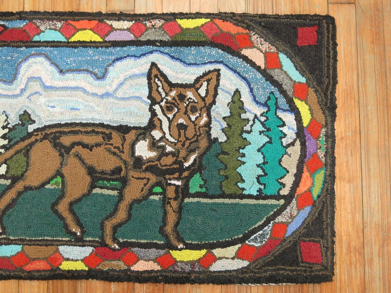 Hand-Woven American Hooked Pictorial Dog Rug For Sale