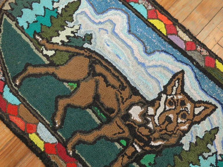 Fabric American Hooked Pictorial Dog Rug For Sale