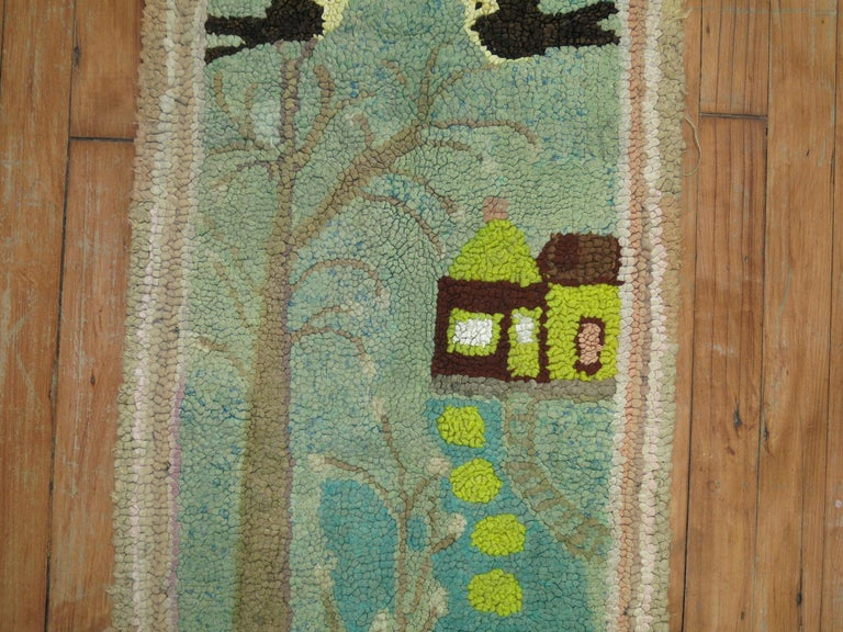 Country American Hooked Pictorial Rug For Sale