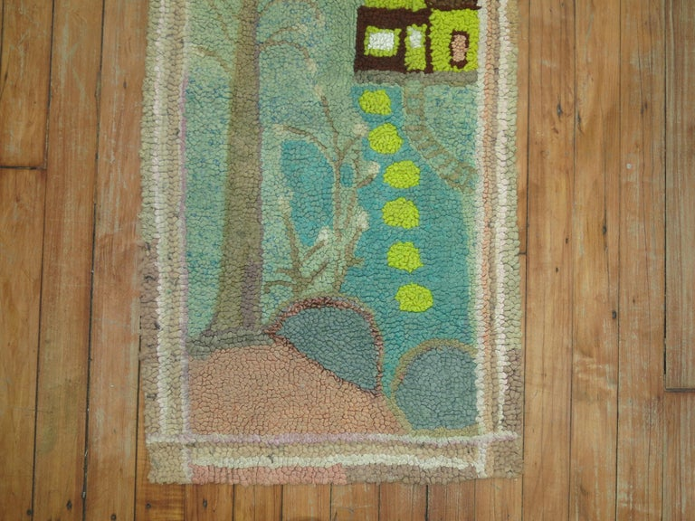 Hand-Woven American Hooked Pictorial Rug For Sale