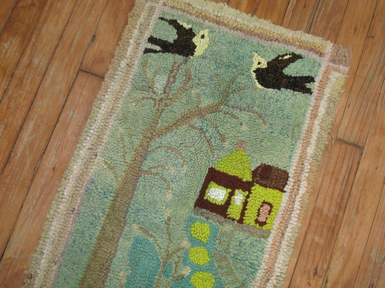 American Hooked Pictorial Rug In Excellent Condition For Sale In New York, NY