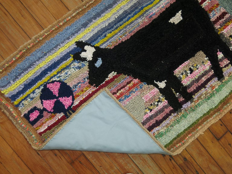 20th Century American Hooked Pictorial Rug For Sale