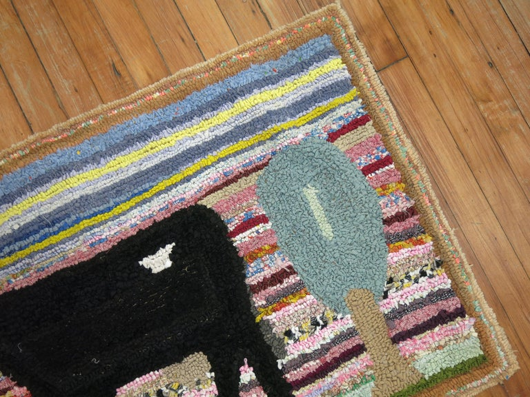 Fabric American Hooked Pictorial Rug For Sale