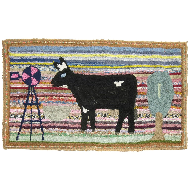 American Hooked Pictorial Rug For Sale