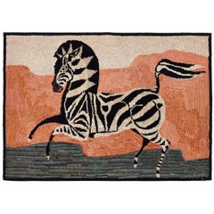 American Hooked Rug Depicting a Zebra Early 20th Century