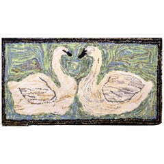 American Hooked Rug with a Pair of Swans
