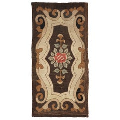 American Hooked Rug with Floral Decoration