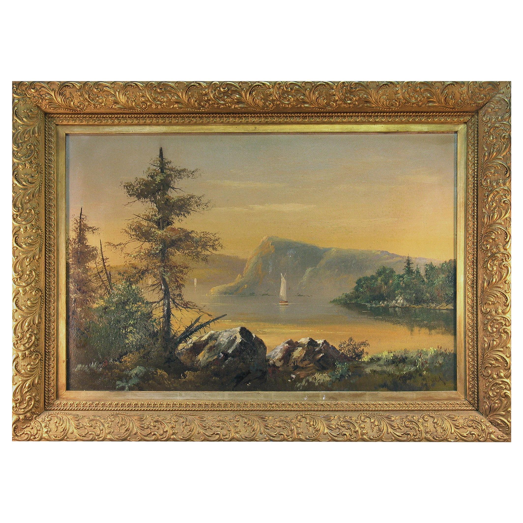 American Hudson River School Lake George Painting, 19th Century