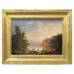 American Hudson River School Landscape with Deer Oil Painting