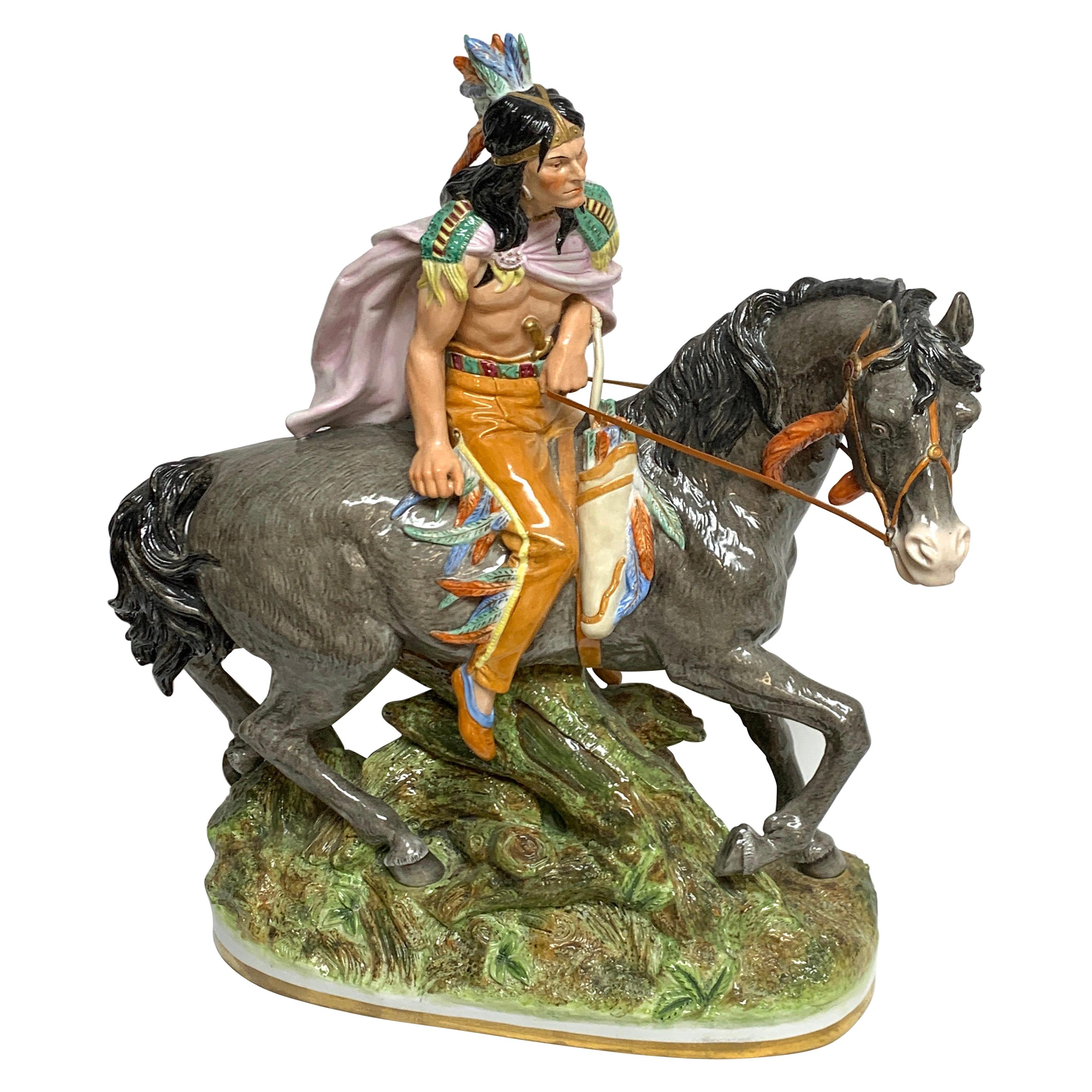 American Indian on Horseback, by Scheibe Alsbach / Volkstedt Porcelain