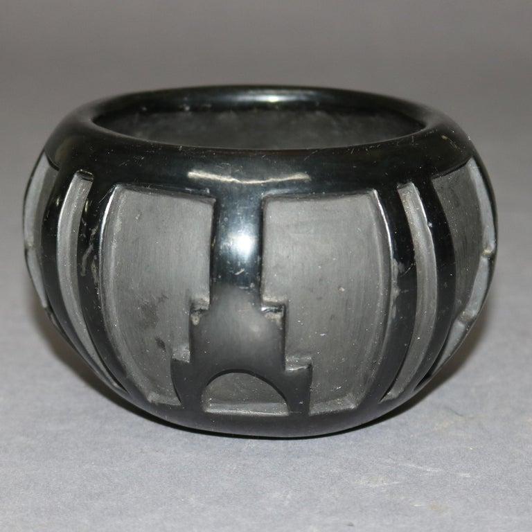 Glazed American Indian Sculpted Black Pottery Vase by Robert Naranjo, Santa Clara For Sale