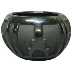 American Indian Sculpted Black Pottery Vase by Robert Naranjo, Santa Clara
