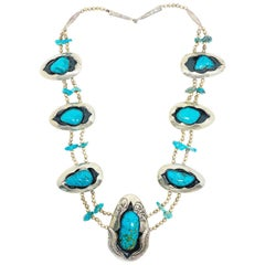 American Indian Squash Blossom Silver Turquoise and Enamel Pendant Necklace