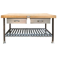 American Industrial Butcher Block Top Table
