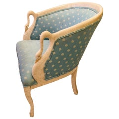 American Ivory Painted Upholstered Swan French Style Armchair