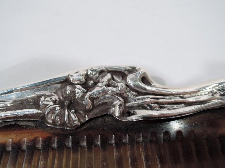 American Japonesque Art Nouveau Sterling Silver Geisha Vanity Set For Sale 4