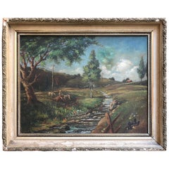 "American Landscape Oil Painting ""Youngsville, New York"" by Mystery Artist"