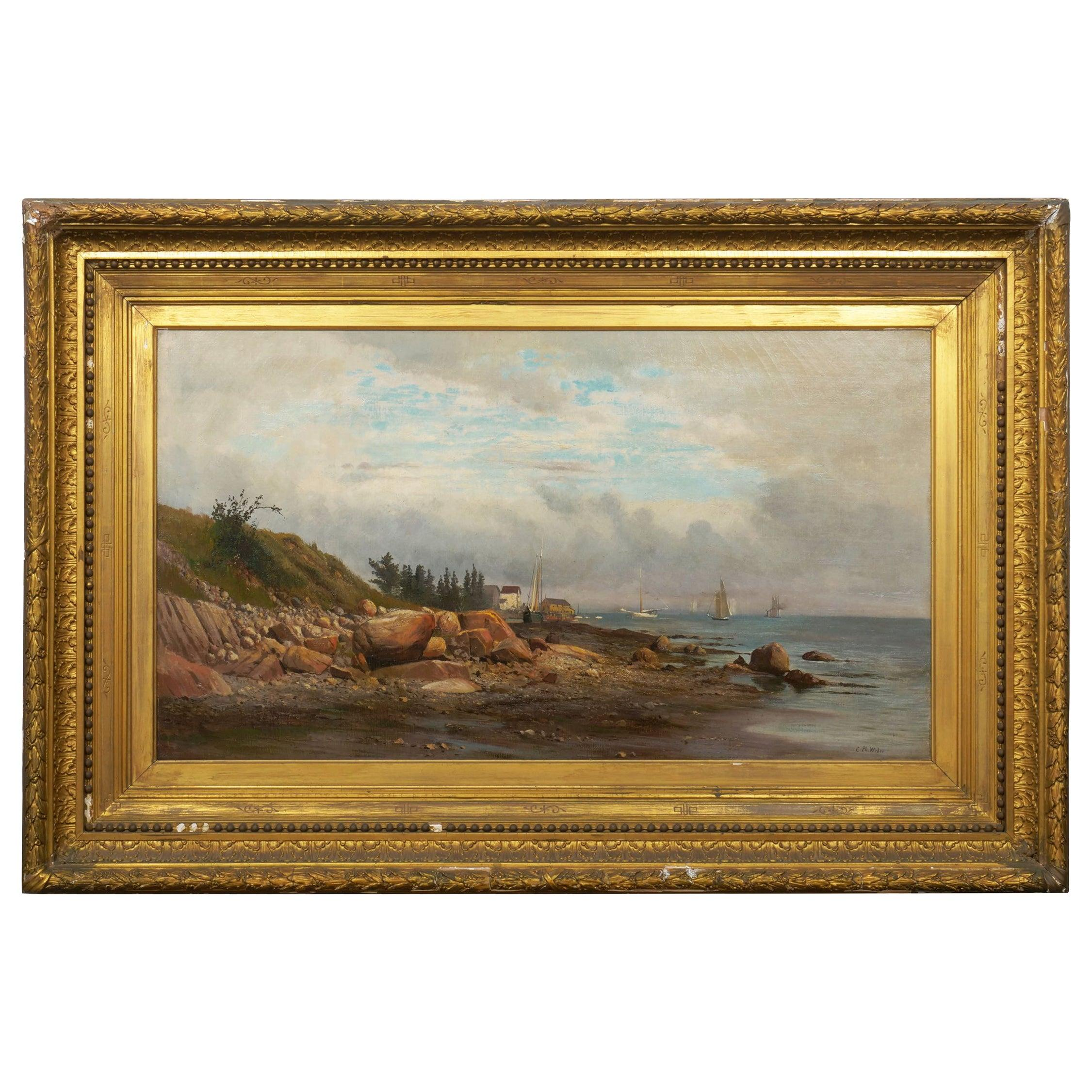 """American Landscape Painting """"Boats off a Rocky Coast"""" by Carl Philipp Weber"""