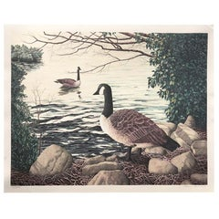 American Landscape Portrait Canadian Goose Signed Lithograph by Helen Rundell