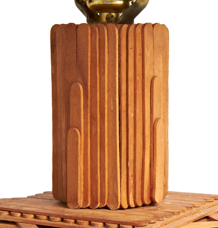 Hand-Crafted American Late Art Deco Outsider Art Architectural Popsicle Stick Table Lamp For Sale