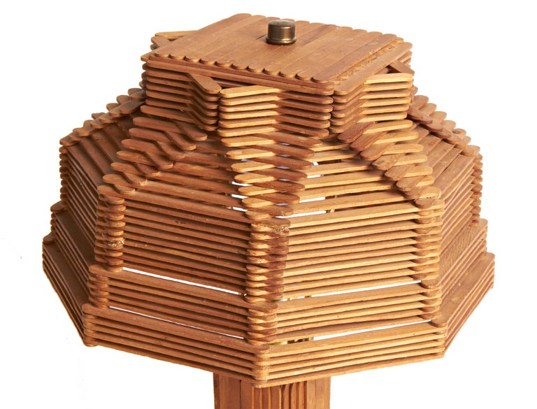 American Late Art Deco Outsider Art Architectural Popsicle Stick Table Lamp In Good Condition For Sale In Port Hope, ON