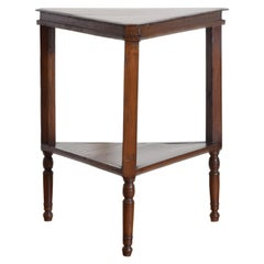 American Late Federal Cherrywood Triangular 2-Tier Table, 1stq 19th Cen