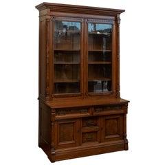 American Late Victorian, Walnut & Burl Aesthetic Bookcase ca.