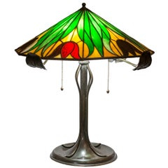American Leaded Glass Table Lamp, Bradley & Hubbard