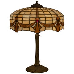 American Leaded Glass Table Lamp by Lamb Bros, Napanee Indiana, circa 1910