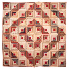 American Log Cabin Cotton Quilt, 1880s