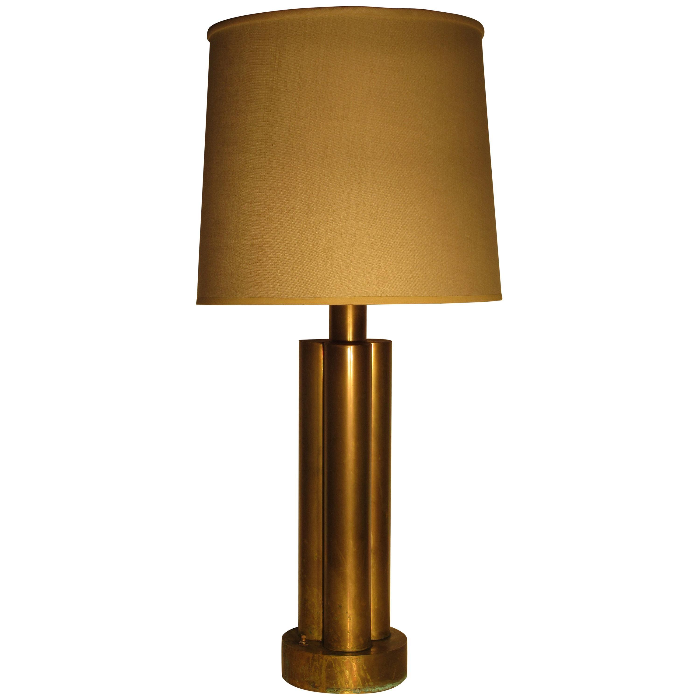 American Machine Age Brass Lamp, circa 1930