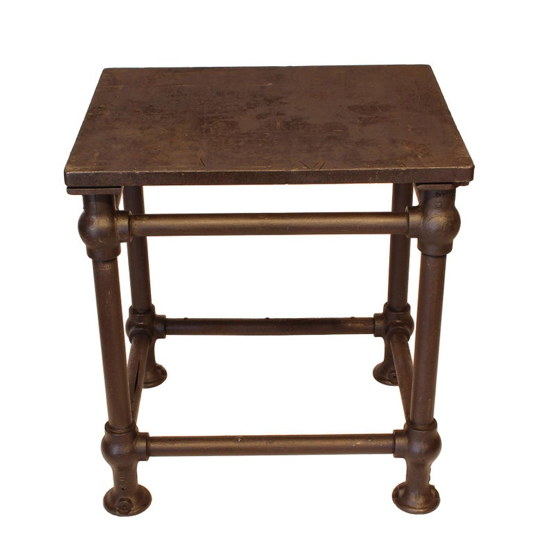 Late 19th Century American Made Cast Iron & Steel Industrial Stationary Printers Letterpress Table For Sale